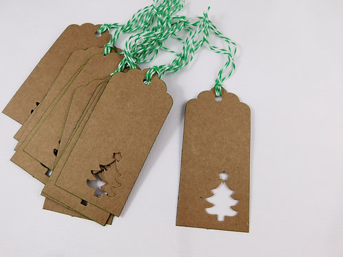 10 Kraft tags craft cardstock scrapbooking Christmas Forest Pine tree Evergreen