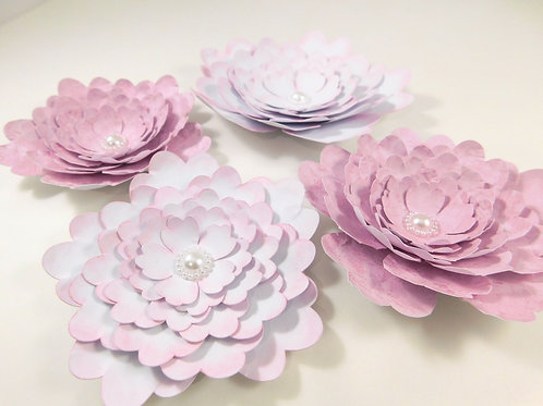 Large Handmade Paper Flowers White Pink embellishments accessories scrapbooking