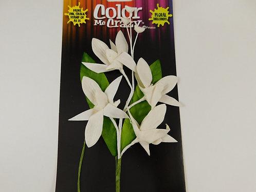 White Petaloo Orchid Spray Madame Cesar Paper Flowers 1571-003 Scrapbooking