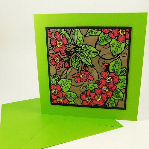 Handmade All Occasion Greeting Card Embossed Background Hand Colored Green Red B