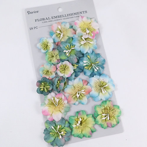 Darice Assorted Flowers Turquoise Speckle Pack 30062016 mulberry paper