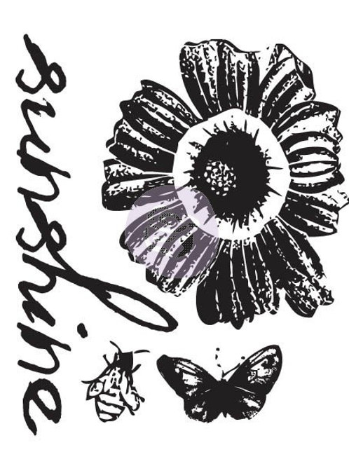 Sunkiss #1 Clear Stamp from Prima Marketing 555092 sunflower word sunshine bee b