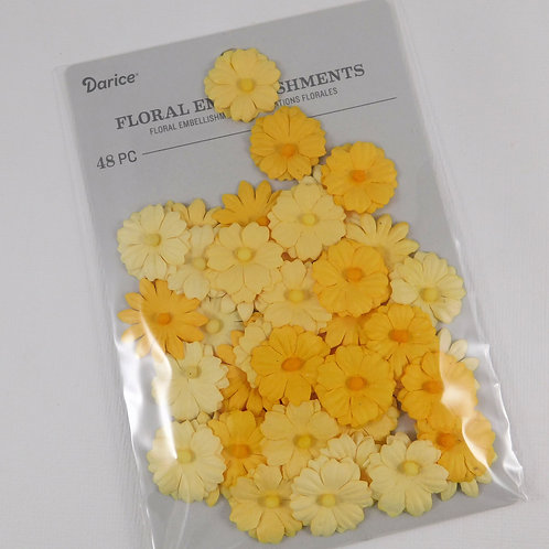 Darice Button Daisy Flowers Yellow Pack 30062039 mulberry paper flowers