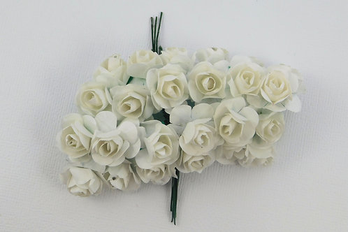 White Mini Paper Flowers roses with stems supply Floral Flowers craft scrapbook