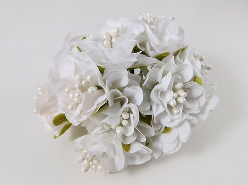 Artificial Fabric Silk Flowers Marigolds on Stems White scrapbooking hair access