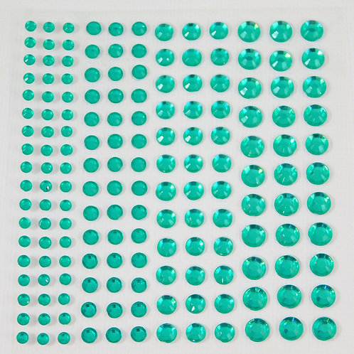 Assorted Size Self adhesive Rhinestones Teal Flat back 3 mm