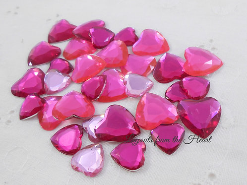 Pink Acrylic Flatback Hearts Rhinestones 30 per pack Assorted sizes