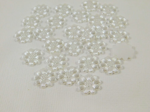 White Flat Back Pearl Daisy Flower Embellishments 12mm 12 mm Floral Cabochon