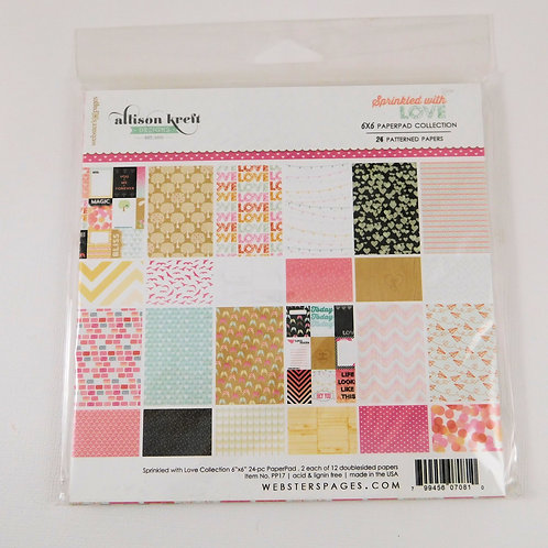Websters Pages 6 x 6 Paper Pad Sprinkled with Love Collection 24 heavy paper car