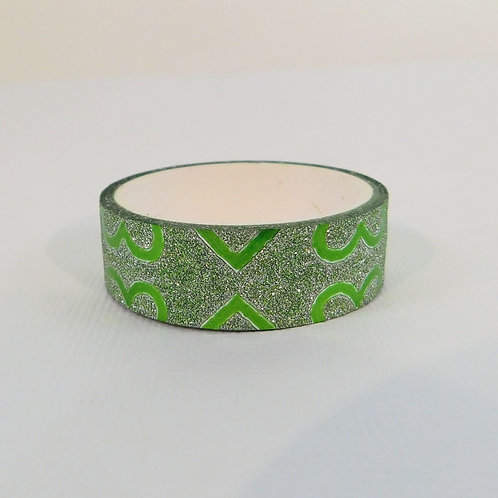 Green Glitter Metallic Half Hearts Washi Tape 15mm 3.5 meters Embellishment Craf