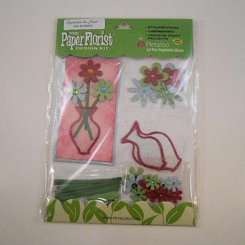 Petaloo Paper Flower Charms Pink Red Blue Green paper florist 3D