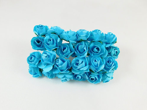 2 cm Aqua Blue Mini Paper Flowers roses with stems supply Floral Flowers craft s