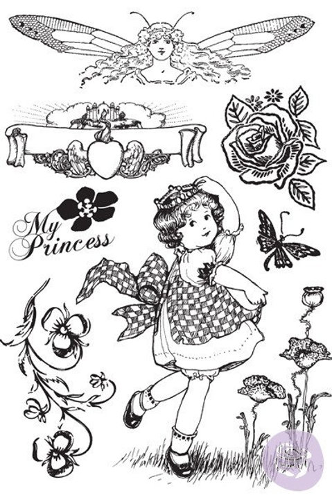 Princess Prima Stamp Set Cling Rubber Stamps Item 951078 girl flowers