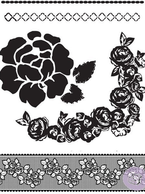 Rosarian Clear Stamp Set from Prima Marketing 559472 Flowers borders ribbon scra