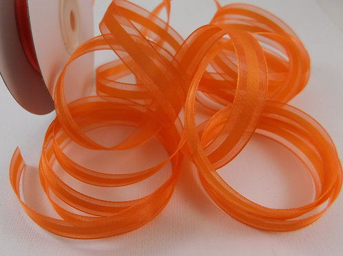 Orange Sheer Ribbon Solid Satin Center 4 Yards Organza 1/2 inch craft supplies