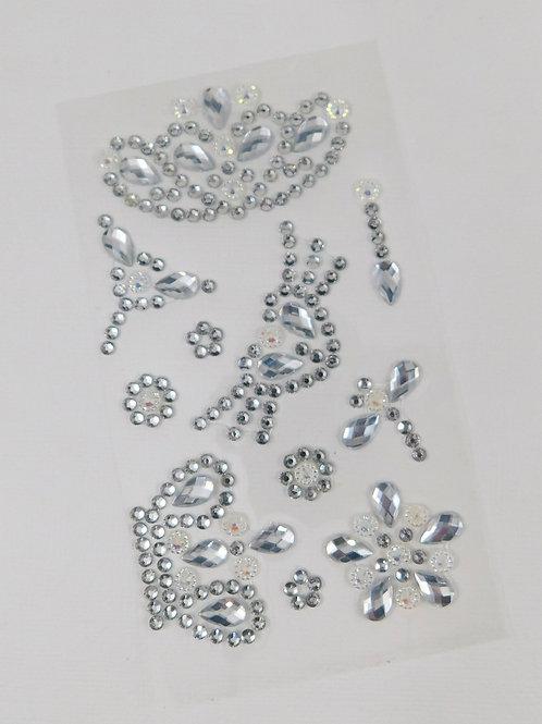 Clear Flourish Crown Heart Dragonfly Flowers AB Sticker rhinestone gems