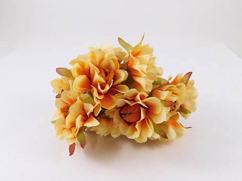 3.5cm Orange Light Orange Fabric Flowers with stems supply Floral craft scrapboo