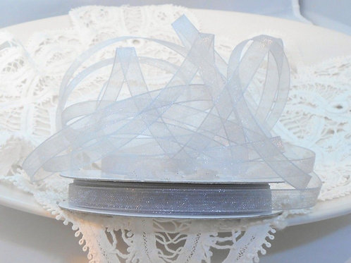 Ice Grey Gray Sheer Organza 1/4 inch ribbon 25 yards Embellishment Trim