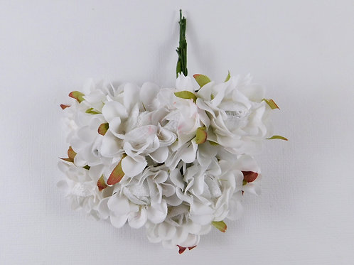 3.5cm White Fabric Flowers with stems Floral craft scrapbooking Silk wedding