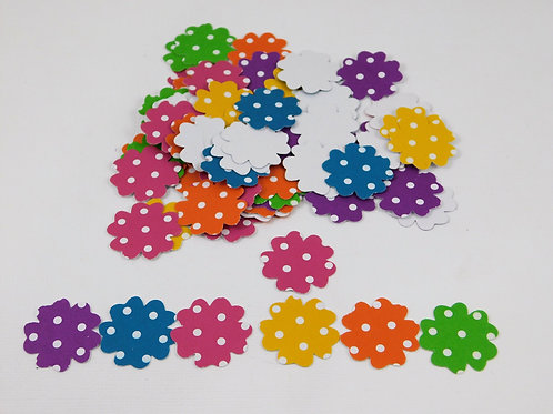 Hand Punched Paper Flowers Bright Polka Dotted embellishments scrapbooking