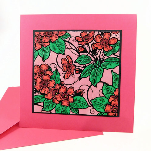 Handmade All Occasion Greeting Card Embossed Background Pink Red Flowe