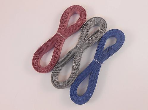 15 Yards total Grosgrain Ribbon 3/8 inch trim Wedgewood Blue, Rosey Mauve, Grey