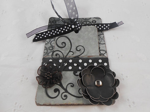 Handmade tag and holder journaling tag paper flowers grey gray tags