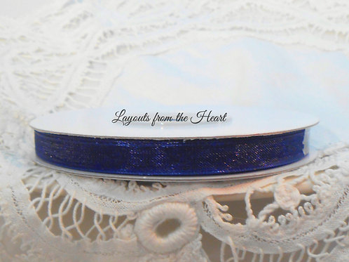 Navy Blue Sheer Organza 1/4 inch ribbon 25 yards Embellishment Trim
