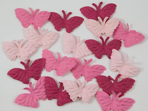 Shades of Pink Colored mulberry paper little butterflies scrapbooking supplies