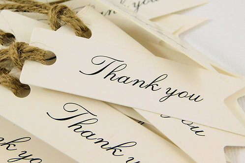 20 Thank you tags white cardstock scrapbooking tags banner flag with string wedd