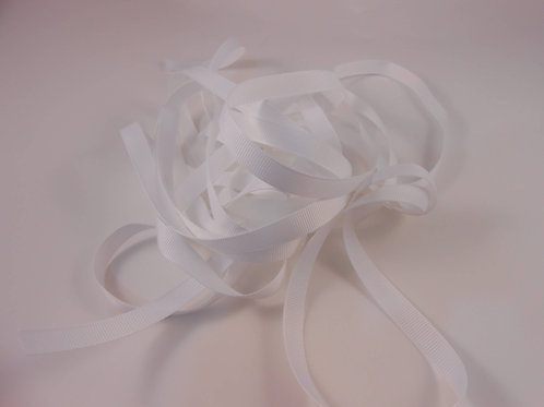 White Grosgrain Ribbon 3/8 inch wide trim 5 Yards Scrapbooking Embellishment
