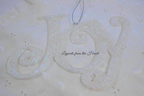 "Pack of 2 Glittered iridescent Silver words ""Joy"" Scrapbooking decoration"
