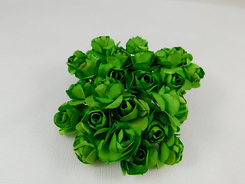 2 cm Green Mini Paper Flowers roses with stems supply Floral Flowers craft scrap