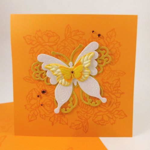 Handmade All Occasion Greeting Card Paper butterflies orange die cut