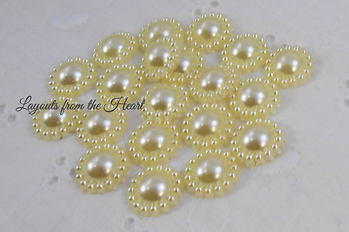 Light Yellow Pearl Flower Embellishments 12 mm Pale Soft crafts supply
