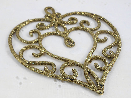 Set of 2 Hard Acrylic Glittered Heart Gold glitter Scrapbooking applique craft