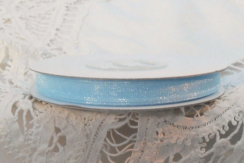 Light Blue Sheer Organza 1/4 inch ribbon 5 yards scrapbooking supplies craft