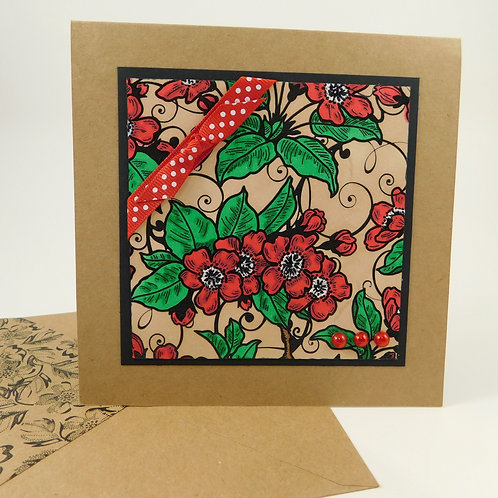 Handmade All Occasion Greeting Card Embossed Background Red Flowers