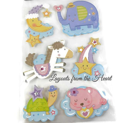 Baby themed embellishments scrapbooking stickers 3D crafts glitter