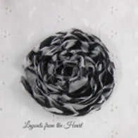 Black and White Zebra Iron On Shabby Rose Embellishment large rolled