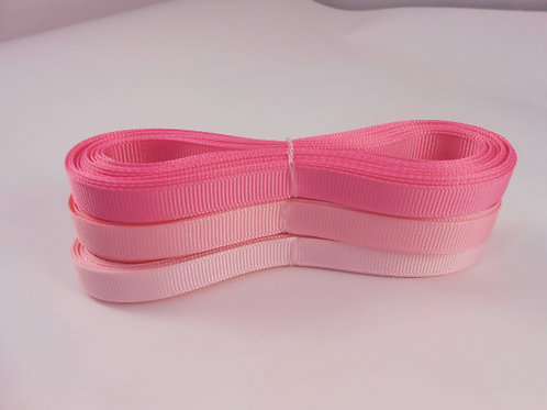15 Yards total Grosgrain Ribbon 1/4 inch wide trim light pink, pink, hot pink