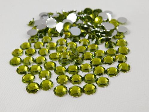 60 Chartreuse Green Flatback Round Rhinestones 7mm bling gems craft supplies
