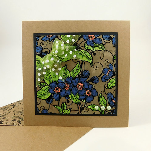 Handmade All Occasion Greeting Card Embossed Background Blue Green Flowers