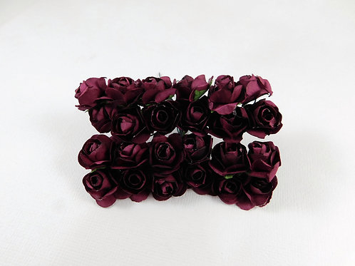 2 cm Dark Burgundy Mini Paper Flowers roses with stems supply Floral Flowers cra