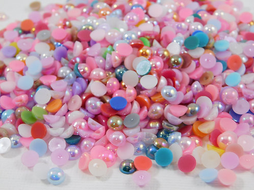 AB Acrylic Flat back Pearls 100 per pack 6 mm size Random Mix Crafts
