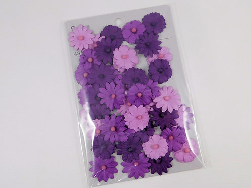 Darice Button Daisy Flowers Violet Purple 30062087 mulberry paper flowers