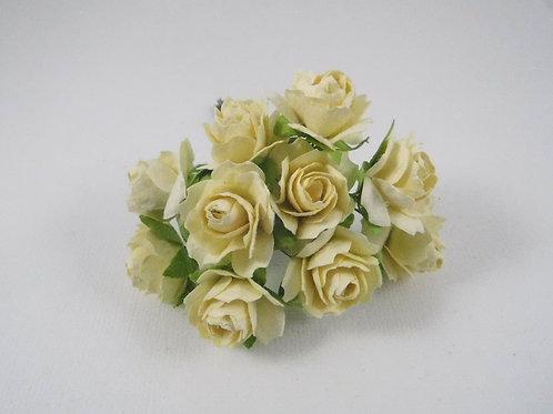 1 inch Scrapbooking Paper Flowers Jasmine stems Light Yellow Cream roses