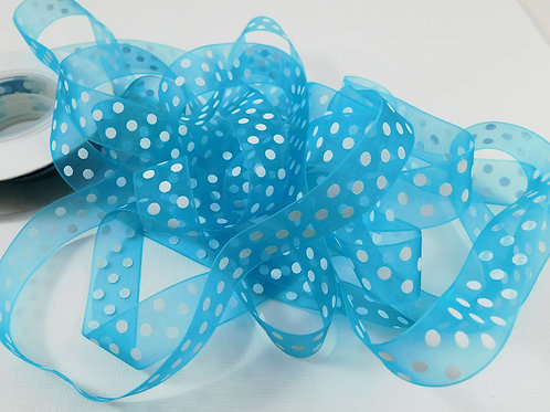 3 Yards Turquoise Organza ribbon 5/8 inch wide Quality trim crafts supplies