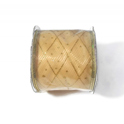 Gold Glitter and light gold Satin Ribbon wire edges craft 2.5 inch