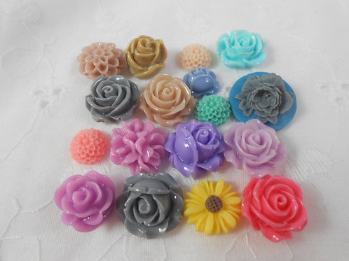 Pretty colored Resin Flower Embellishments Mix 1 Sampler roses daisy